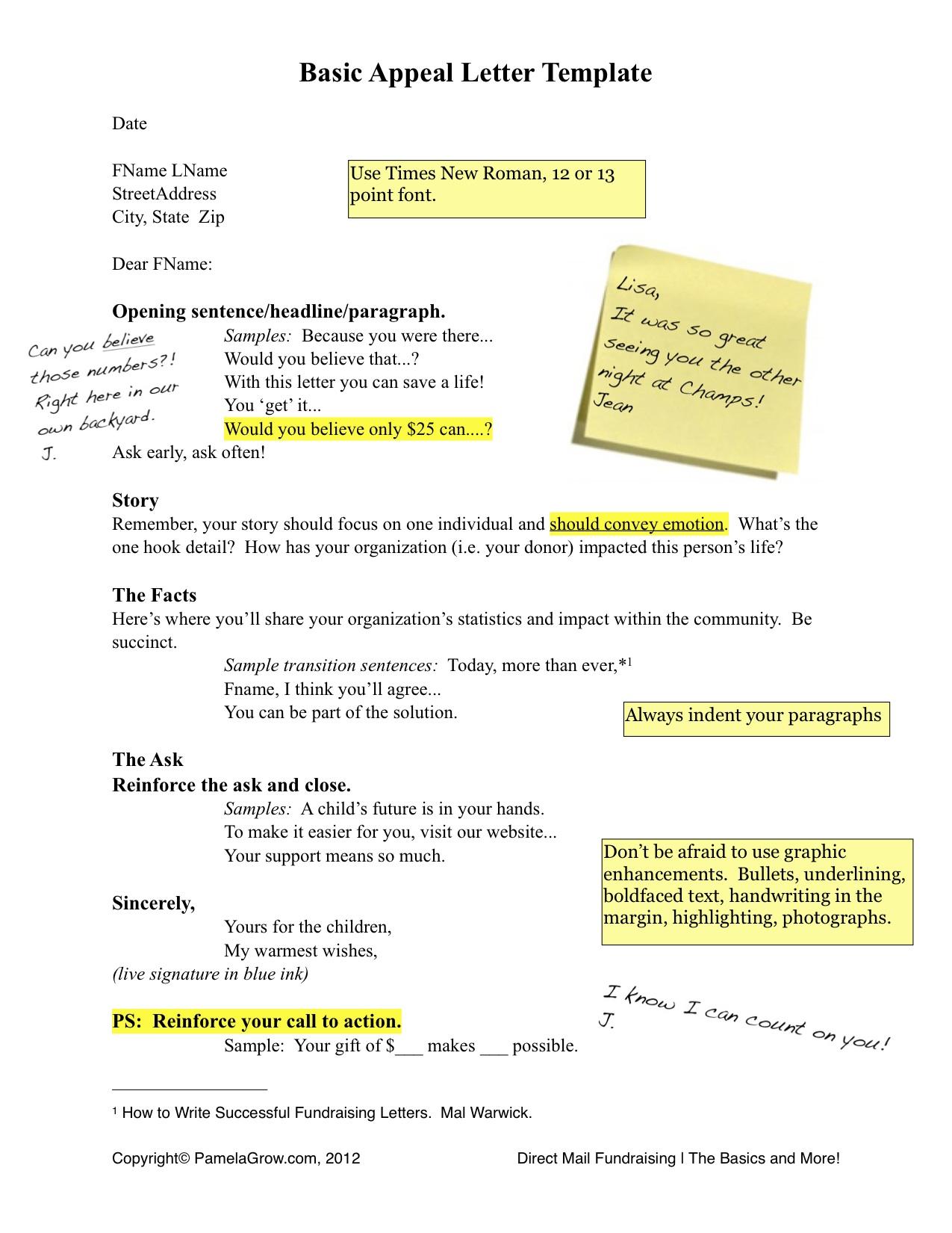 basic appeal letter template pamela grow