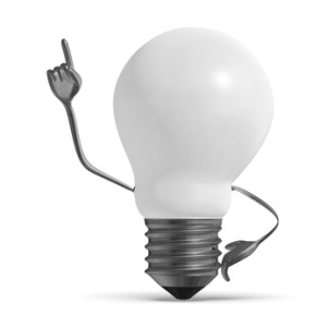 White light bulb character in moment of insight isolated