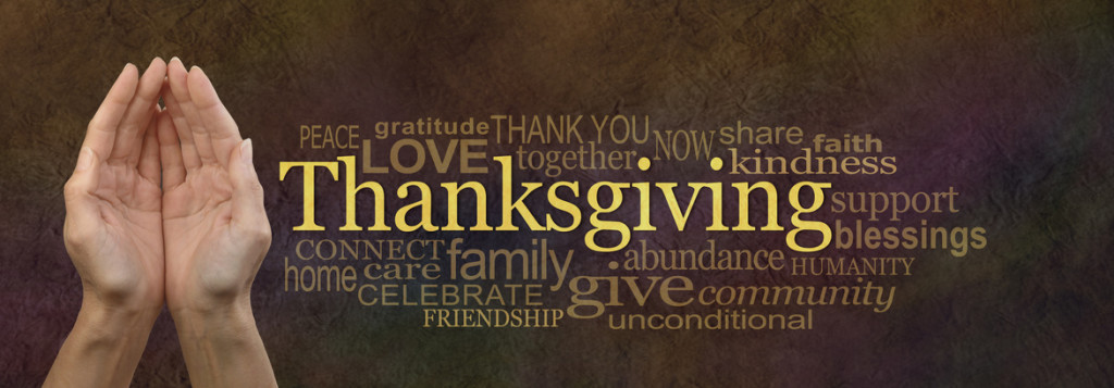 Thanksgiving Word Cloud Website Banner - Female cupped hands alongside a golden 'Thanksgiving' word surrounded by a relevant word cloud on a warm dark golden stone effect background